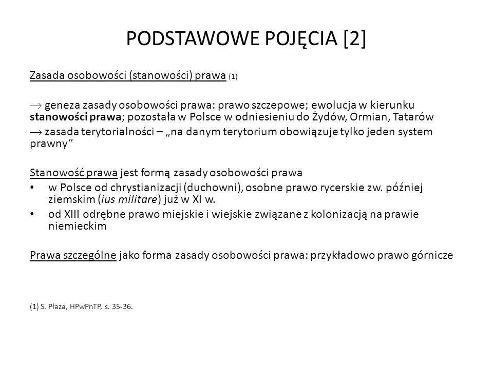 PODSTAWOWE POJĘCIA [2] Zasada osobowości (stanowości) prawa (1)